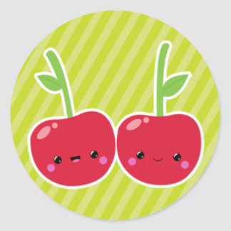 Cherries on Green Stripes Classic Round Sticker