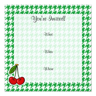 Cherries on Kelly Green Houndstooth Invitation