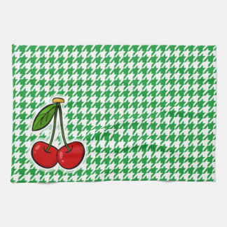 Cherries on Kelly Green Houndstooth Towels