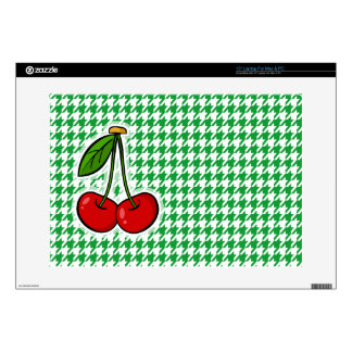 Cherries on Kelly Green Houndstooth Laptop Decals
