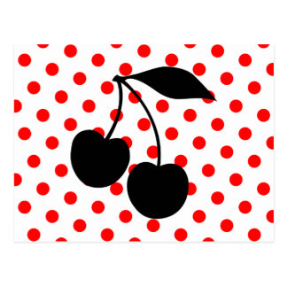 Cherries on Red Polka Dots Postcard