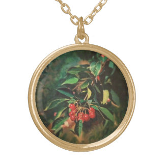 Cherries on the Tree Gold Plated Necklace