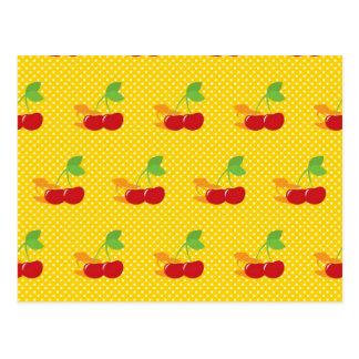Cherries on Yellow and White Polka Dots (2) Postcard