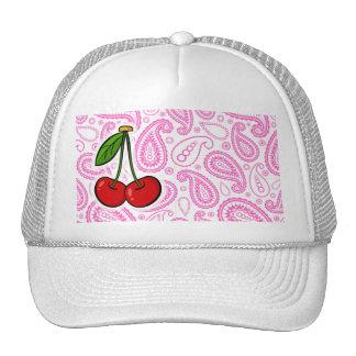 Cherries; Pink Paisley Mesh Hat