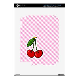 Cherries & Pink Plaid iPad 3 Skins
