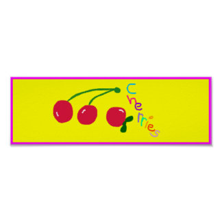 'Cherries' Poster Sign. Customizable
