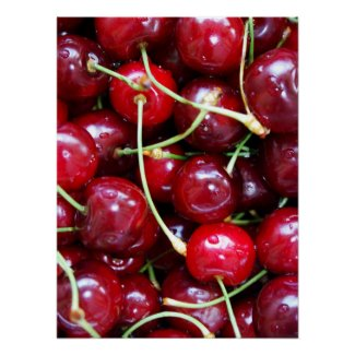 Cherries red fruit food fresh close-up poster