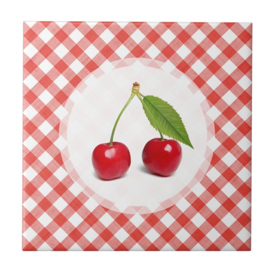 Cherries Red Gingham - tile
