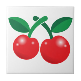 Cherries red with two and stalks tile