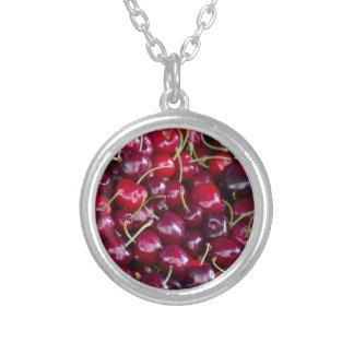 cherries round pendant necklace