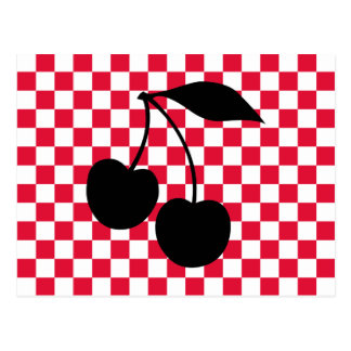 Cherries Shape on Red Checkerboard Postcard