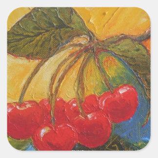 Cherries Square Sticker