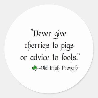 Cherries to pigs classic round sticker