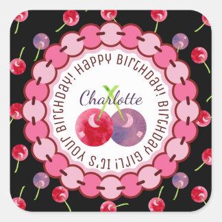 Cherries Watercolor Birthday Personalized Square Sticker