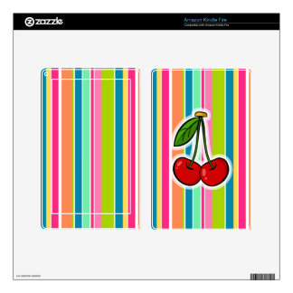 Cherries with Colorful Stripes Skins For Kindle Fire