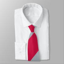 Cherry and Gray Broad Regimental Stripe Neck Tie