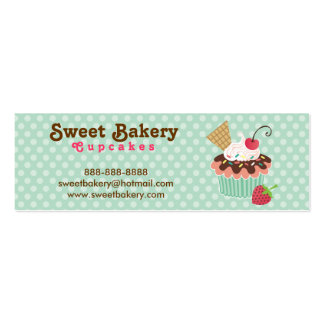 Cherry and Mint Cupcake Mini Business Cards Tags