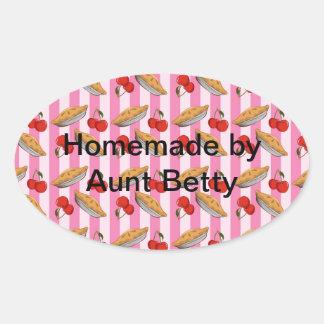 Cherry and pie pattern oval sticker