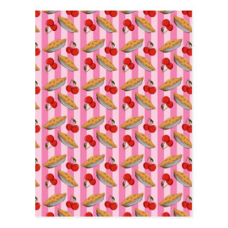 Cherry and pie pattern postcard