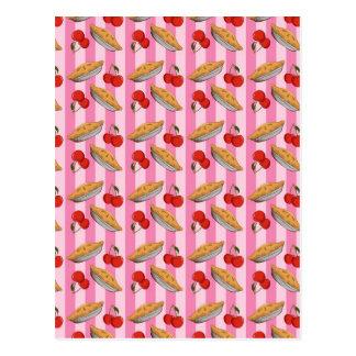 Cherry and pie pattern postcard