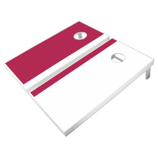 Cherry and White Add Your Logo Cornhole Set
