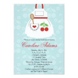 Cherry Apron Bridal Shower Invitation Red and Blue