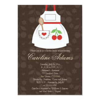 Cherry Apron Bridal Shower Invitation Red and Brow