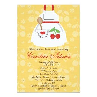 Cherry Apron Bridal Shower Invitation Yellow and R