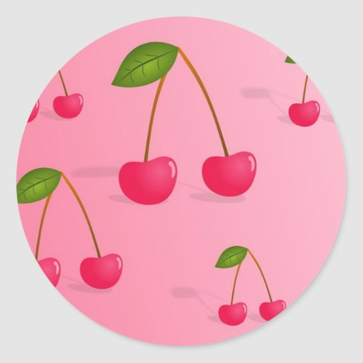 Cherry Background Classic Round Sticker