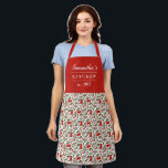 "Cherry Berries Pattern Pretty Modern Red Name Apron<br><div class=""desc"">One of my daughters is currently obsessed with everything cherry, so of course I had to design an apron that was cherry themed! :) This beautiful apron features a pattern of cherries and leaves in bold red and green. Three text templates are included for personalization, making this apron a truly...</div>"