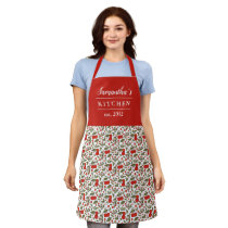 Cherry Berries Pattern Pretty Modern Red Name Apron