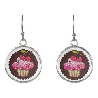 Cherry Berry Cupcake Drop Earrings