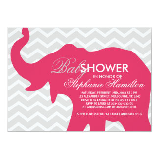 Cherry big elephant baby shower 4.5x6.25 paper invitation card