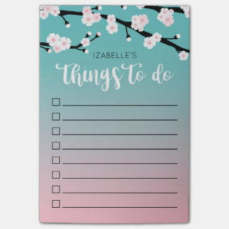 Cherry Bloom Ombre | Custom Name To Do List Post-it Notes