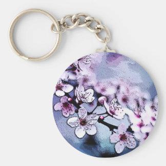 Cherry Blosom Basic Round Button Keychain