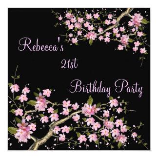 Cherry Blossom 21st Elegant Birthday Party Black 5.25x5.25 Square Paper Invitation Card