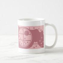 japan, japanese, ninja, samurai, sakura, nippon, asia, cherry-blossom, illustration, graphic, flower, vintage, fujiya, art, oriental, pink, pop, cute, pretty, Mug with custom graphic design