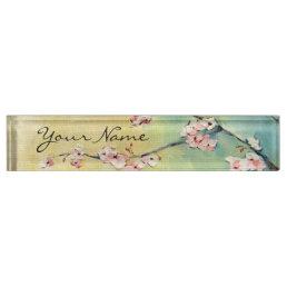 Cherry Blossom Acrylic Desk Nameplate