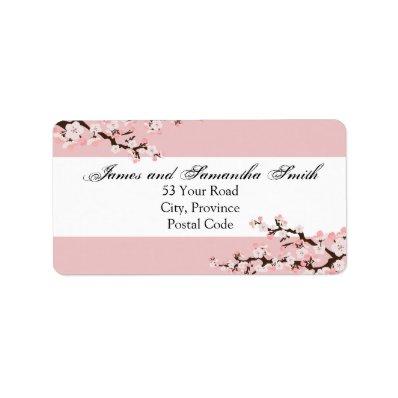 Cherry Blossom Address Label - Pink White Wedding