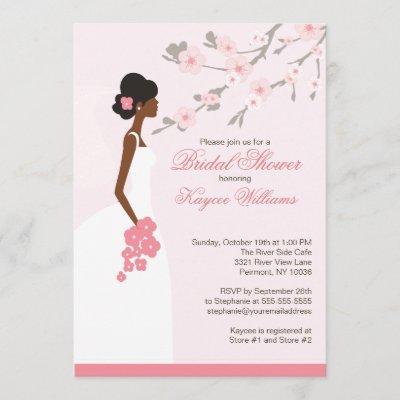 Cherry Blossom African American Bridal Shower Invitation