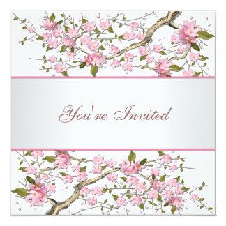 Cherry Blossom All Occasion Party 5.25x5.25 Square Paper Invitation Card