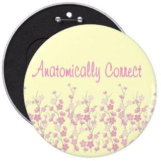 Cherry blossom anatomically correct pinback button
