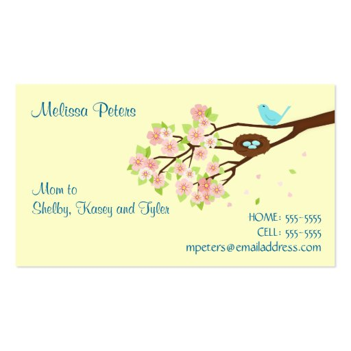Cherry Blossom and Bird Mom Profile Card Business Card Templates