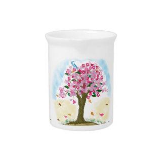 cherry blossom and blue bird drink pitcher
