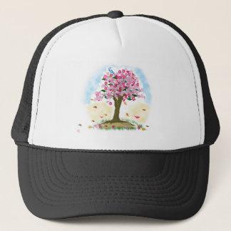 cherry blossom and blue bird trucker hat