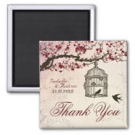 Cherry Blossom and Love Birds 2 Inch Square Magnet