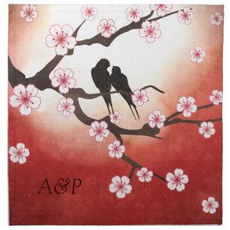 Cherry Blossom and Love Birds American MoJo Napkin