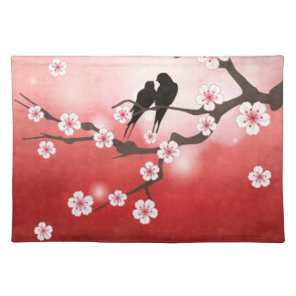 Cherry Blossom and Love Birds American MoJo Placem Placemats