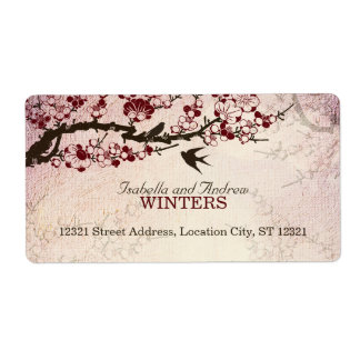 Cherry Blossom and Love Birds Label
