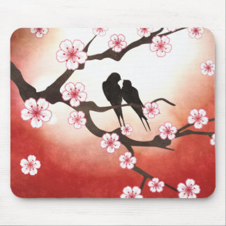 Cherry Blossom and Love Birds Mouse Pad